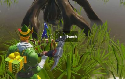 Fortnite gnome location between Logjam Woodworks, wooden shack and bucket tree